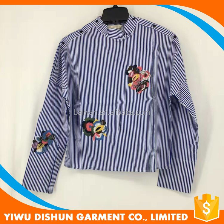 Best quality fashion embroidery blouse ladies