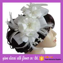 custom-made ivory feather flower with comb bridal flower