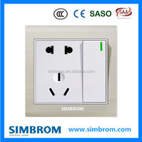 British standard 3 position electrical wall switch, 1 gang 2 way switch and 5 hole switch and socket