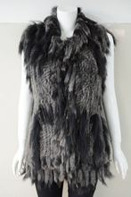 Total color for rabbit fur vest with raccoon fur collar