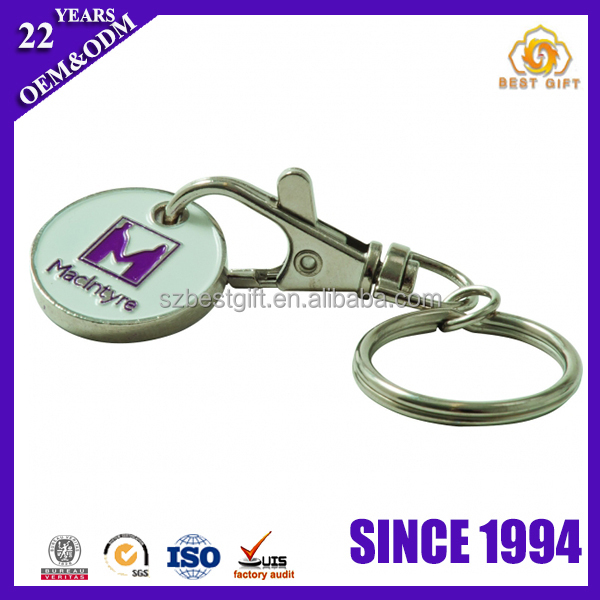 Hot selling stamped iron soft enamel trolley coin keyring