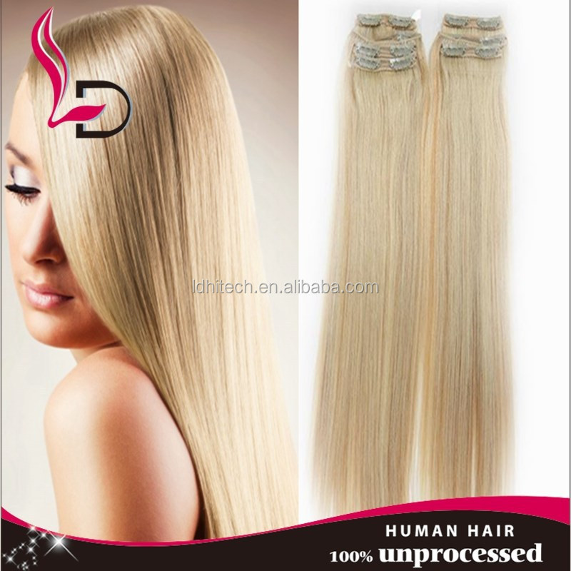 Trade assurance Top Fashion Clip In Real Natural European Hair Extensions #24 Medium Blonde Full Head Set Hair extensions