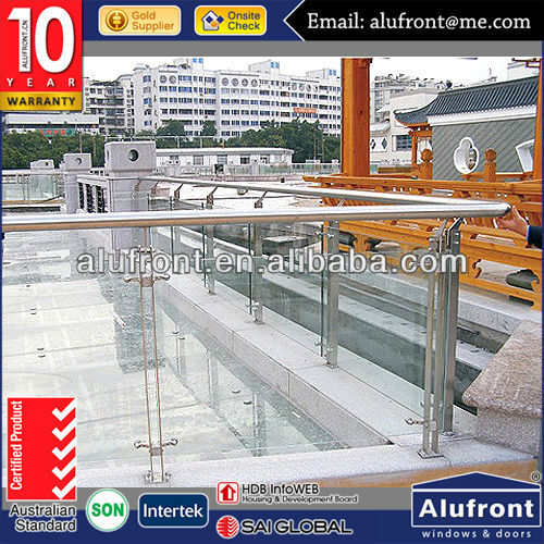 Stainless Steel # 304 Single Tempered Glass Handrail