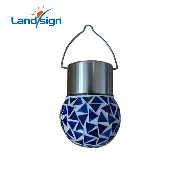 Solar Light Garden Hanging Lights With Glass And Mosaic Type Solar Sun Jar Lamp Series Small Solar Mosaic Ball Lights