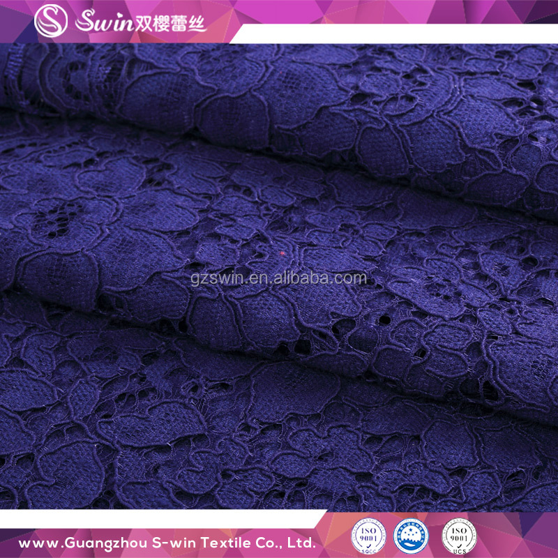 New wedding Purple Color Thick Dress Guipure Cotton Knitted fashion lace fabric for Pleats Clothes