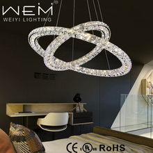 Double Round Rings 60W Nature White 4000K Hanging Lamp / Modern LED Crystal Chandelier