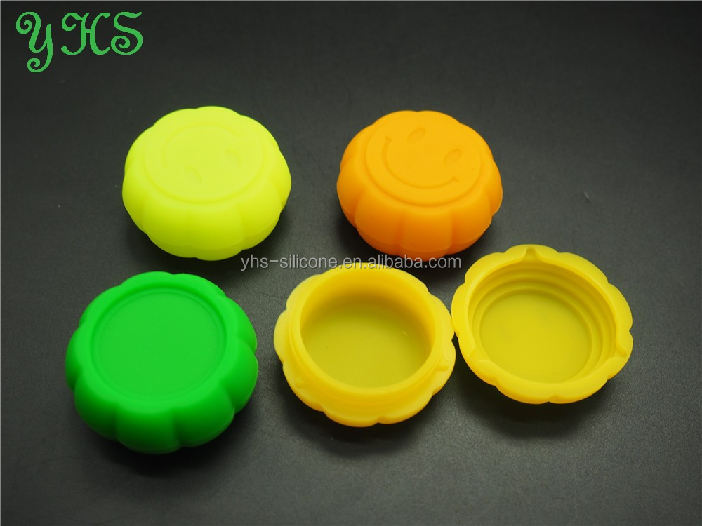 Pumpkin shape dab silicone container, silicone customized bho wax container, non stick silicone container concentrate oil