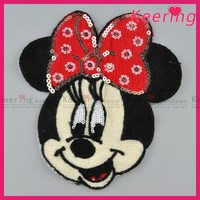 Fashions Custom embroidered knit badge mickey patch, round woven iron on patch
