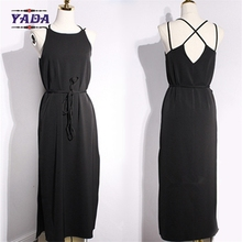 Open back cross split long spaghetti strap solid maxi a line skirt dress beach dresses clothes women with good quality