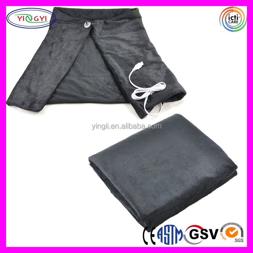 E047 USB Powered Soft Heated Blanket Shawl Winter Electric Warming Heating Pad USB Blanket