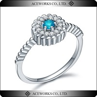 Wholesale Prong Setting Silver 925 Aquamarine CZ Ring