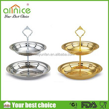 two layers fruit plate/stainless steel cake dish /metal tray for dessert