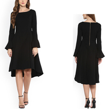new model women fashion long sleeve black evening chiffon dress