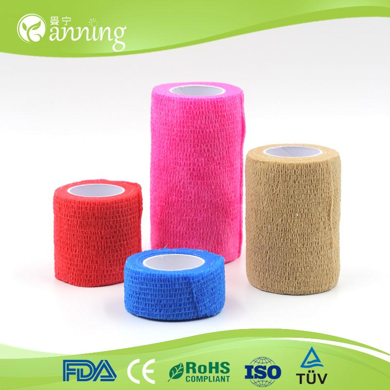 medical equipment self adhesive colored elastic cohesive bandage,sticky colored veterinary elastic bandage