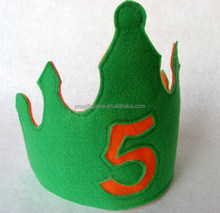 2017 new product cheap hotsale China fabric hair craft handmade party supply cake decoration felt pageant boy kid birthday crown