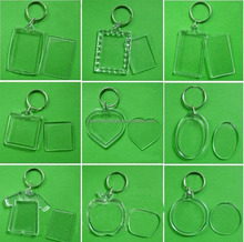 Blank Acrylic keychain , picture insert plastic photo frame key chain