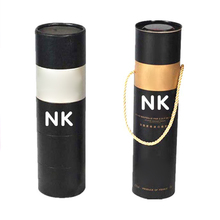 Black silver stamping recyclable tall paper wine tubes for wine bottle tube packing