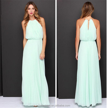 ladies banquet one piece long dress new style chiffon pleated dress