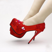 New Super High Heel Platform Red Satin Elegant Bridal Shoes Stiletto Heel Wedding Shoes Sequins Lace Spring Pumps