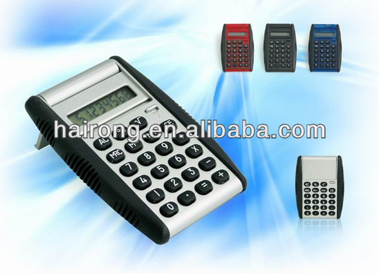 Mini pocket calculator with flip cover with rubber grip palm size