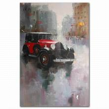 High quality antique watercolor canvas car on street abstract wall painting art