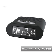 Wholesale Hotel Alarm Clock Radio Nagative Display FM Radio Clock with Indoor Temperature And FM Radio Clock