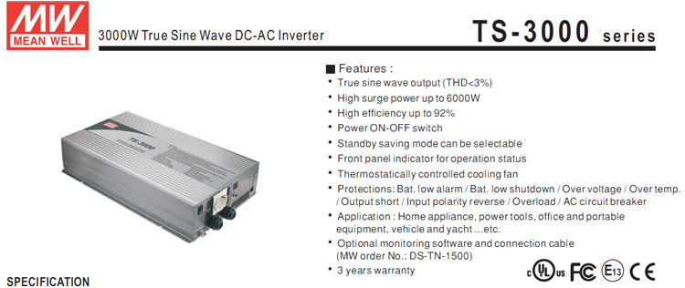 Meanwell TS-3000-224 True Sine Wave DC AC 3000w pure sine wave inverter charger