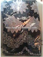 100% Cotton Swiss Voile Lace with Stones in High Quality with Competitive Price in Green