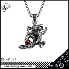 Classic fashion Stainless Steel Chinese dragon shape inlay zircon pendant