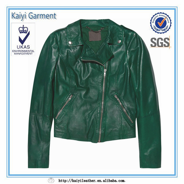 fashion new design green faux leather picture of jackets for women