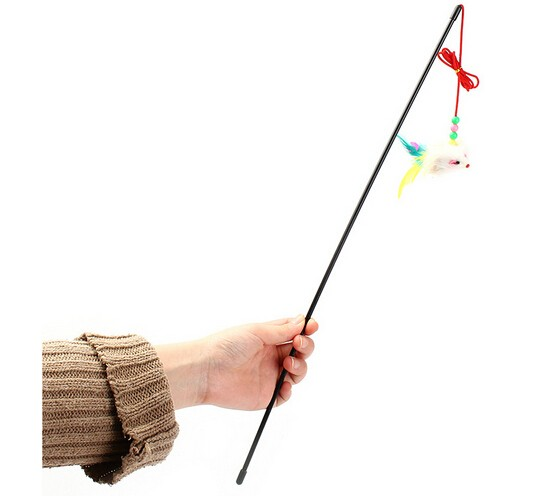 Cat Toy Mouse On A Rod Teaser Funny Kitten Belling Feather Play Pet Dangler Wand