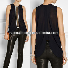 Fashion 2014 women's elegant chiffon tank top with embroidery on front (NTF04069)