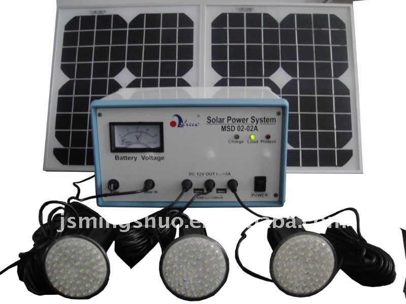 20W Solar lighting kit with 3 lamps