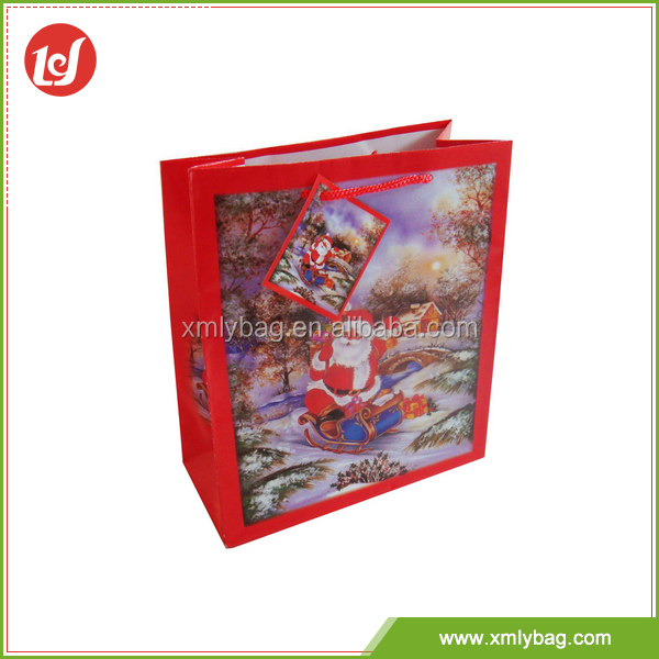 Manufacture cheap delicate exquisite christmas paper packaging bag