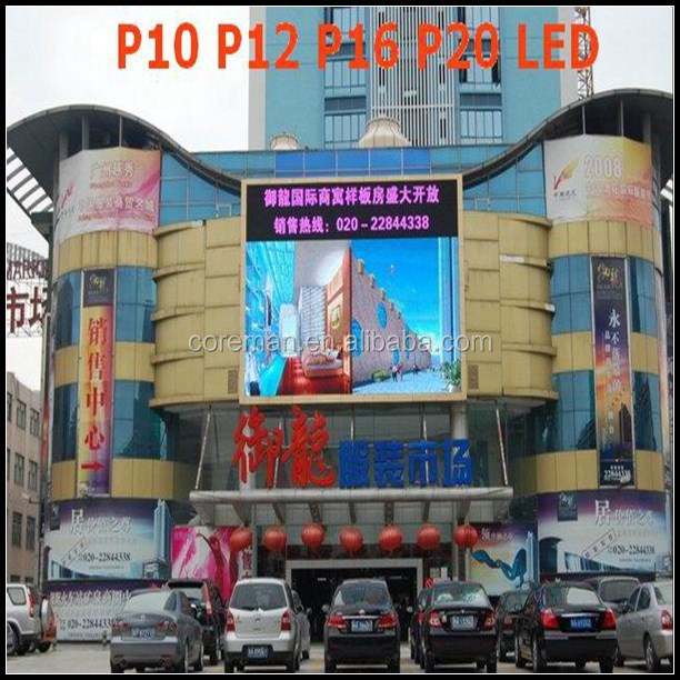 double sided outdoor video p10 p20 led open sign , full color led outdoor video led display screen