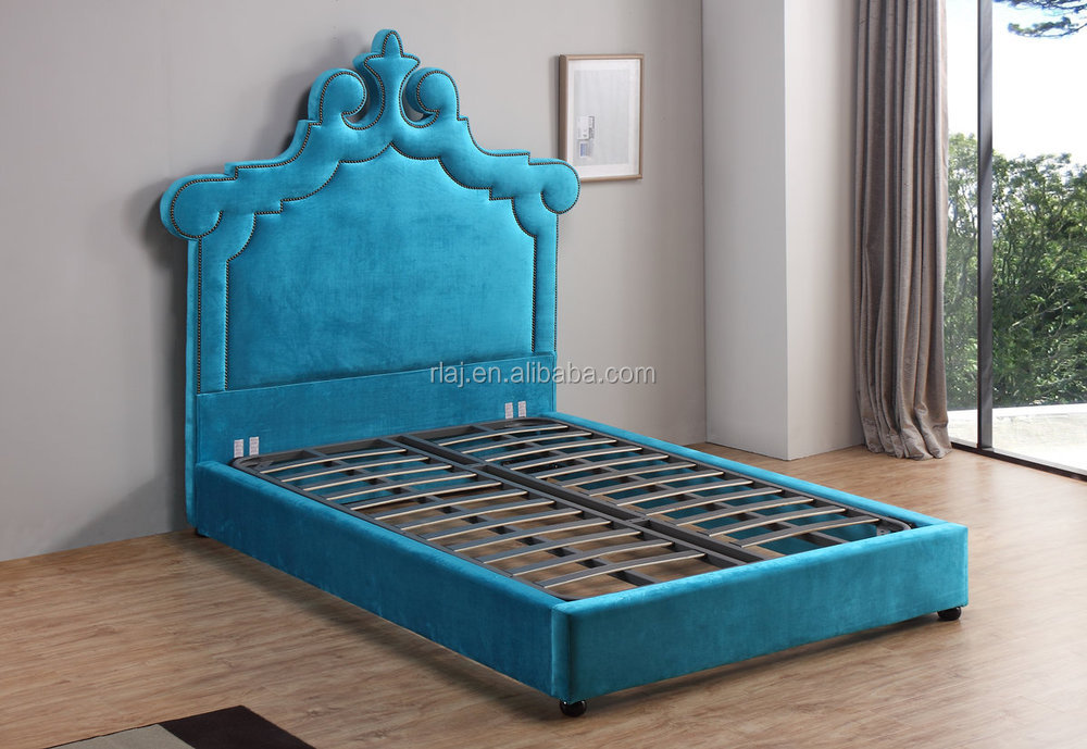 sculpted headboard studded nailhead kids bedroom furniture velvet fabric upholstered panel bed,queen, blue