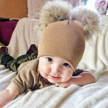 Artificial Faux Fur Baby Winter Knit Hats Crochet Boys Pom Pom Beanie