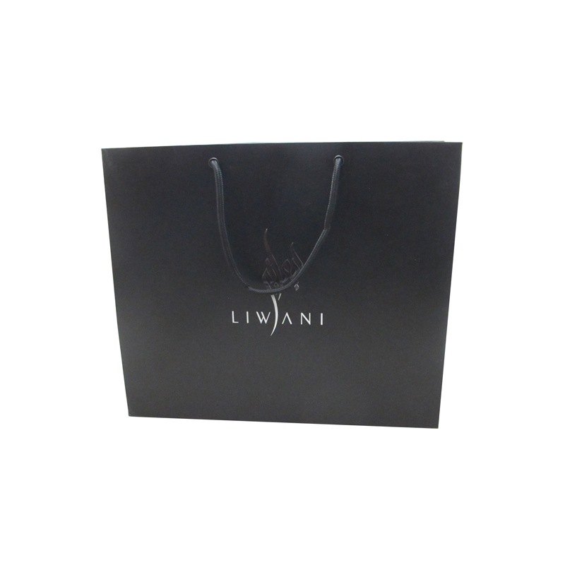 Matt black plain paper square bottom gift shopping bag with different size