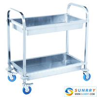 Hot Sales Good Quality Stainless Steel 2 Layers Foldable Trolley With Wheels