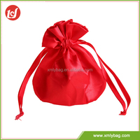 Nice quality red foldable satin printing drawstring bags