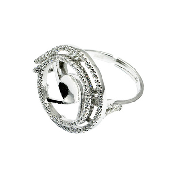 Beadsnice ID30618 sterling micro pave adjustable US size 7 to 9 fit 6mm round sold by PC silver ring base