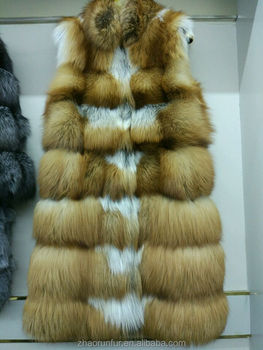 Factory Wholesale Price Magnet buckle Red Fox Fur Vest For Women