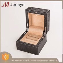 Real leather high end customized jewellery ring box with led light
