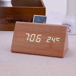 Christmas gift new home decor LED clock fashion wood clock table clock with high quality