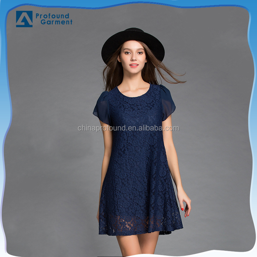 New designer short sleeve plain navy blue crochet lace one piece party dress