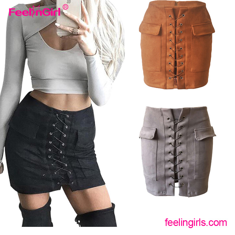 European and American Style Black Suede Short Office Designs Skirts Women