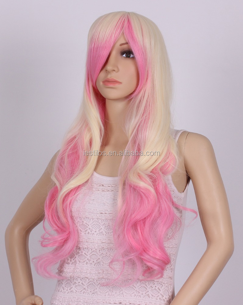 Light Pink Mix Black 24 Inches Curly Long Heat Resistant Women Lace Front Wigs