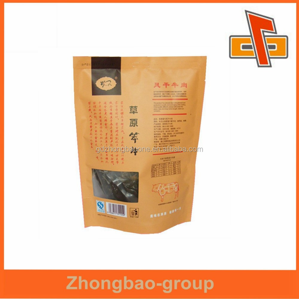 Stand up laminated heat seal brown kraft paper stand up pouches for jerked beef with tea notch