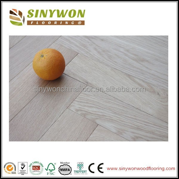 Bleaching/White Stained AB Grade Herringbone Oak Wood Flooring