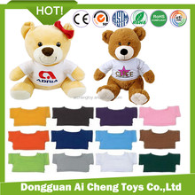 "Manufacturer custom high quality 12"" stuffed plush teddy bear with t-shirt can print your own logo"